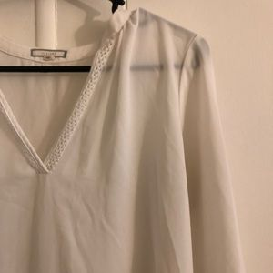 Pleione Sheer White Blouse
